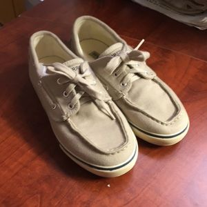 Boys 2m Sperry Tan Canvas Boat Shoes